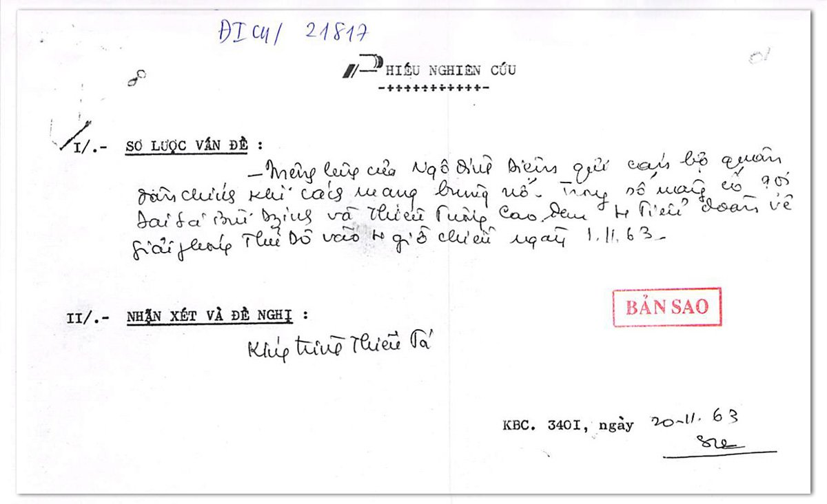 diem handwriting 0 1604387846 - Evidence on the Diem Coup in South Vietnam, 1963