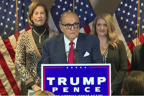 rudy press 500  1605886875 - My Cousin Rudy Is Melting But He Can Still Smell Election Crimes With the Deranged Help Of His Elite Strike Force