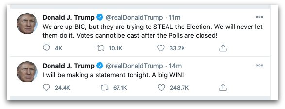 """trump first salvo 1604504436 - """"He Doesn't Decide... We the People Do"""": Trump Denounced for False Election Night Claim of Victory"""